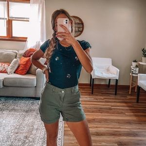 Army green Levi's shorts